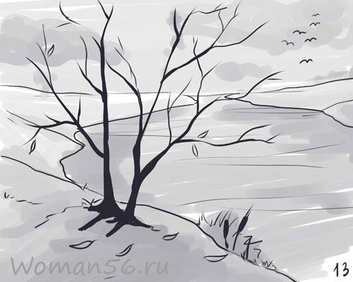 Рисуем осенний пейзаж карандашами - шаг 13