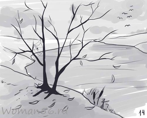 Рисуем осенний пейзаж карандашами - шаг 14