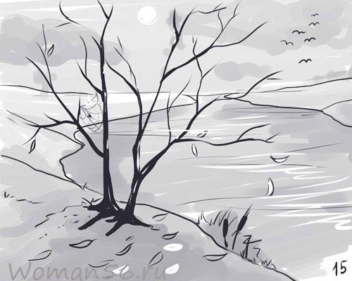 Рисуем осенний пейзаж карандашами - шаг 15
