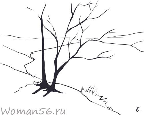 Рисуем осенний пейзаж карандашами - шаг 6