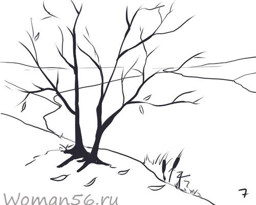 Рисуем осенний пейзаж карандашами - шаг 7