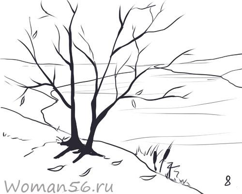 Рисуем осенний пейзаж карандашами - шаг 8