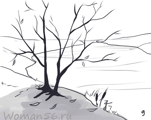 Рисуем осенний пейзаж карандашами - шаг 9