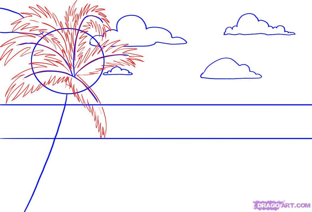Рисуем пляж с пальмой