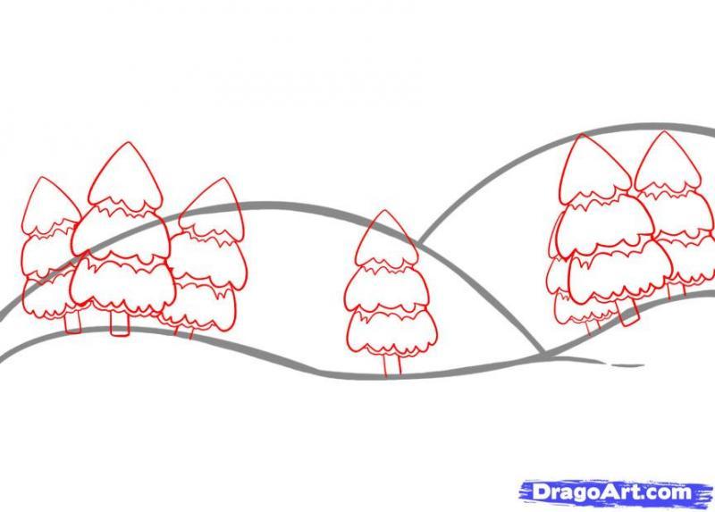 Рисуем простой зимний пейзаж - шаг 3