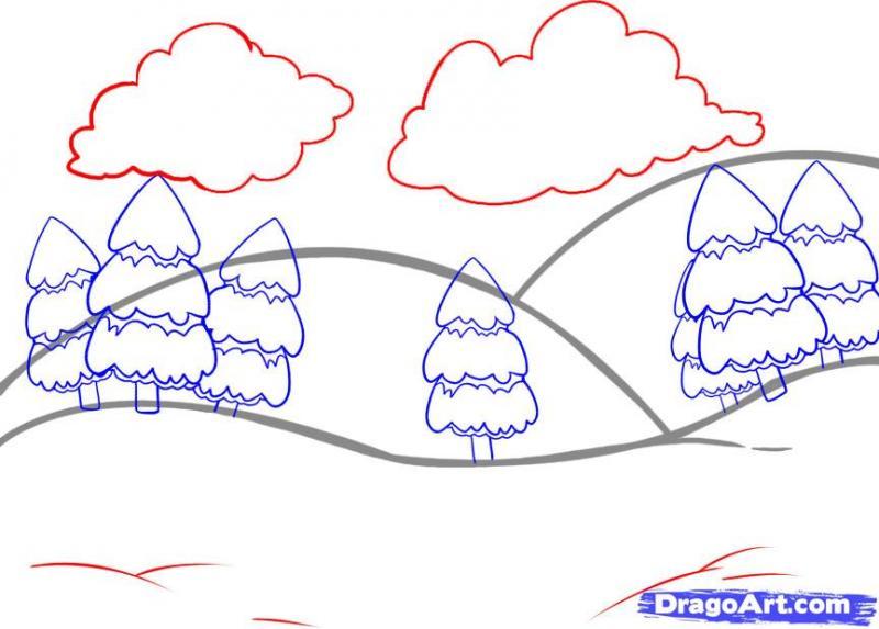 Рисуем простой зимний пейзаж - шаг 4