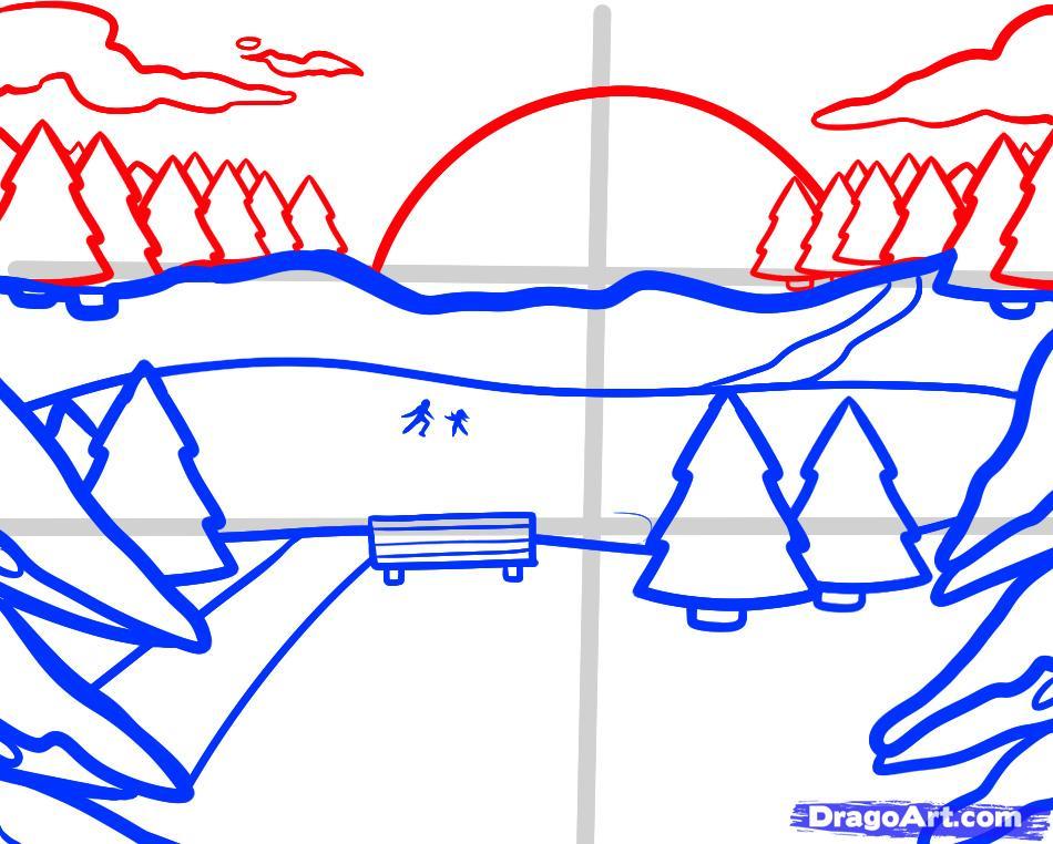 Рисуем зимний пейзаж с озером - шаг 5