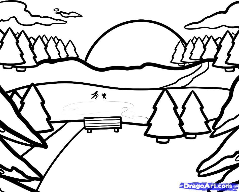 Рисуем зимний пейзаж с озером - шаг 6