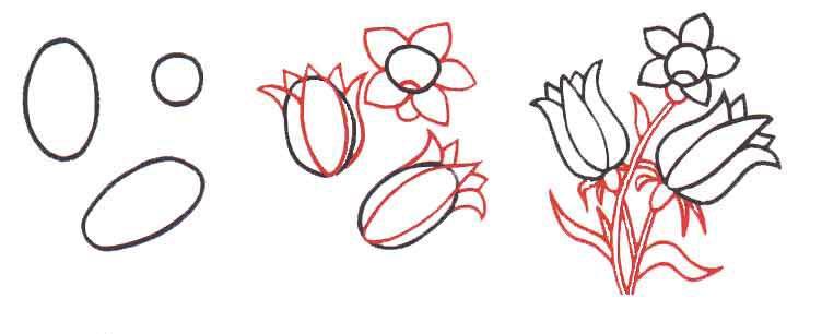 Как  нарисовать цветы колокольчики  для начинающих - шаг 1