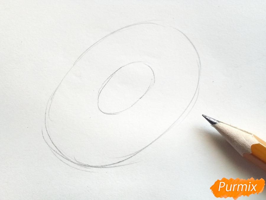 Рисуем подсолнух цветными карандашами - шаг 1