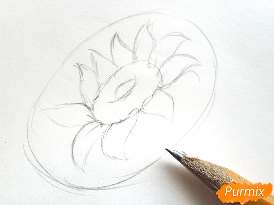 Рисуем подсолнух цветными карандашами - шаг 2