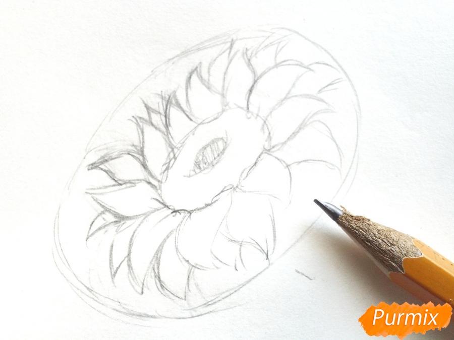 Рисуем подсолнух цветными карандашами - шаг 3