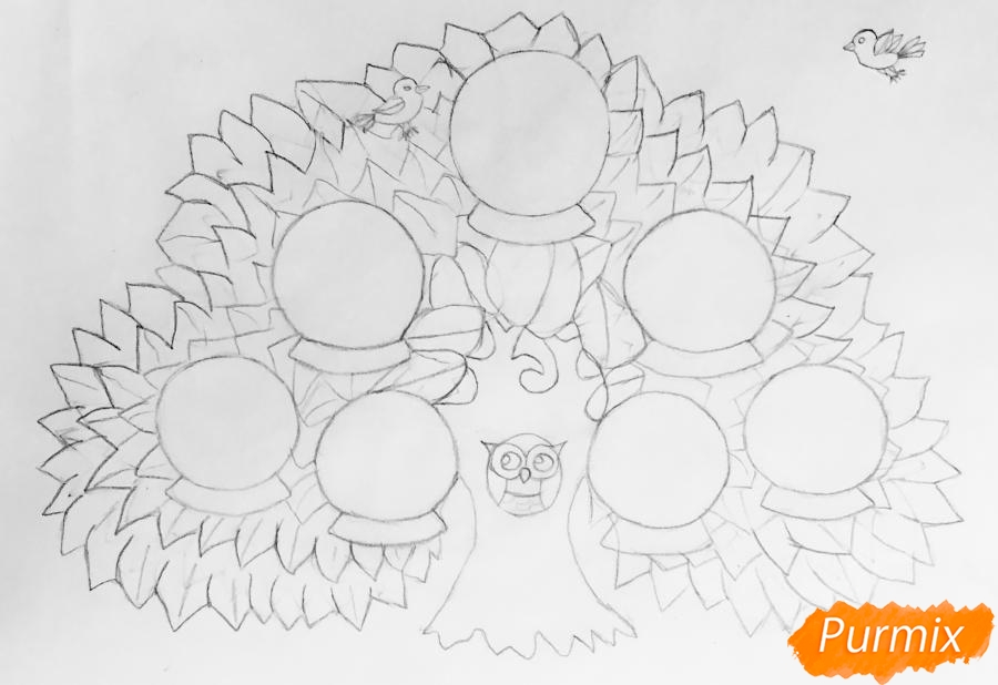 Рисуем семейное генеалогическое древо с птичками для детей - шаг 4