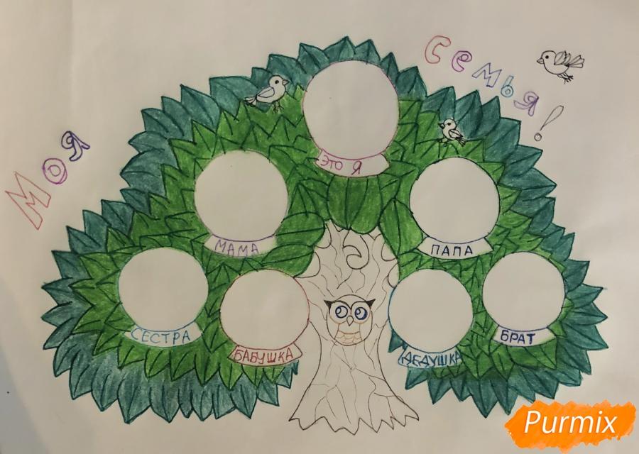 Рисуем семейное генеалогическое древо с птичками для детей - шаг 8