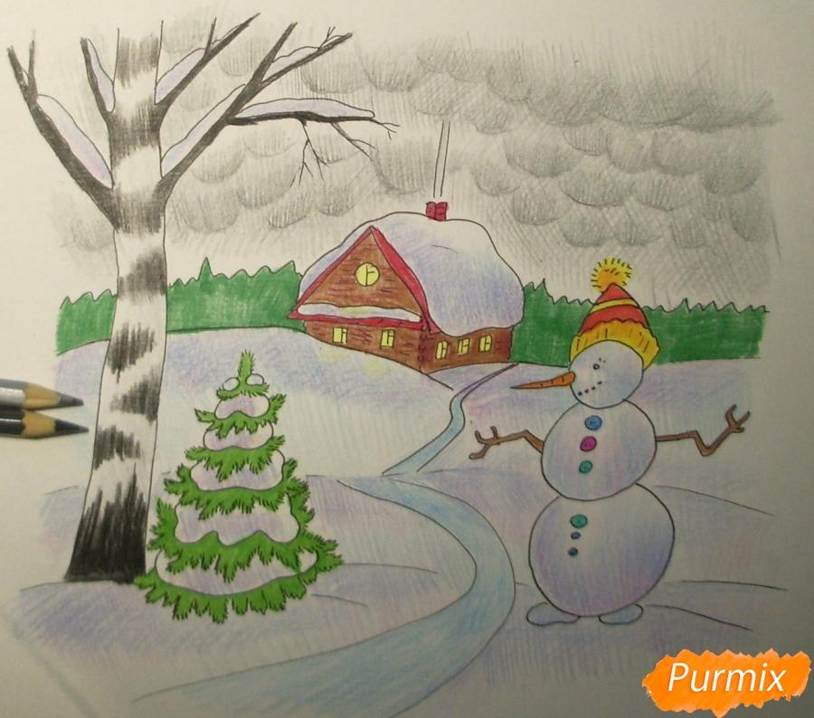 Рисуем зимний пейзаж с елкой и снеговиком - шаг 10