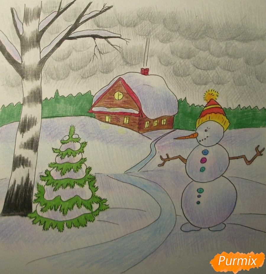 Рисуем зимний пейзаж с елкой и снеговиком - шаг 11
