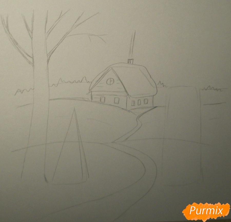 Рисуем зимний пейзаж с елкой и снеговиком - шаг 2