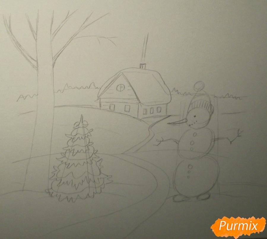 Рисуем зимний пейзаж с елкой и снеговиком - шаг 3