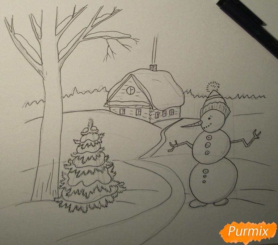 Рисуем зимний пейзаж с елкой и снеговиком - шаг 4