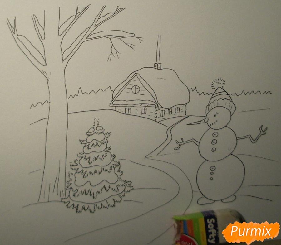 Рисуем зимний пейзаж с елкой и снеговиком - шаг 5