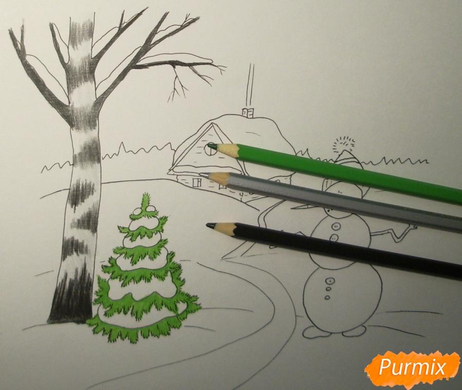 Рисуем зимний пейзаж с елкой и снеговиком - шаг 6