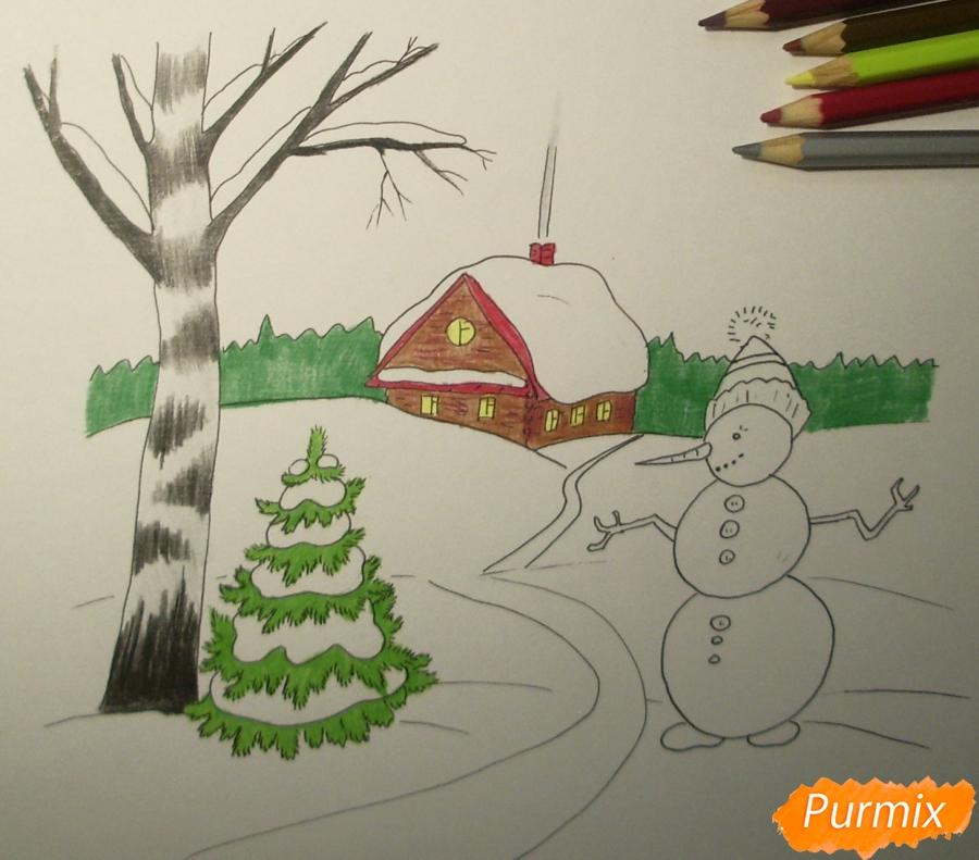 Рисуем зимний пейзаж с елкой и снеговиком - шаг 7