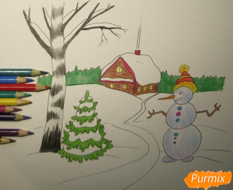 Рисуем зимний пейзаж с елкой и снеговиком - шаг 8