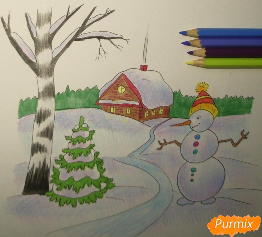 Рисуем зимний пейзаж с елкой и снеговиком - шаг 9
