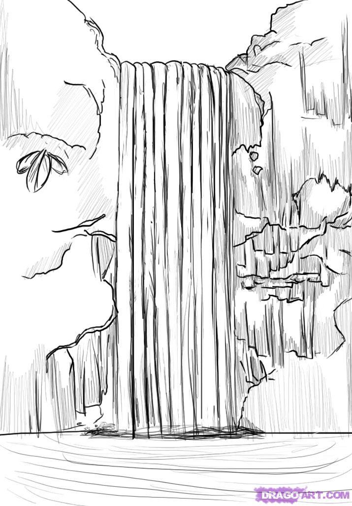 Учимся рисовать водопад