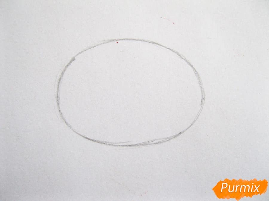 Как легко нарисовать кочан капусты цветными карандашами - шаг 1