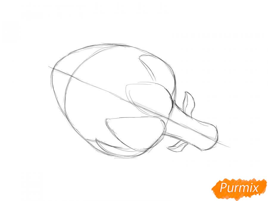 Рисуем артишок  и красками - шаг 3