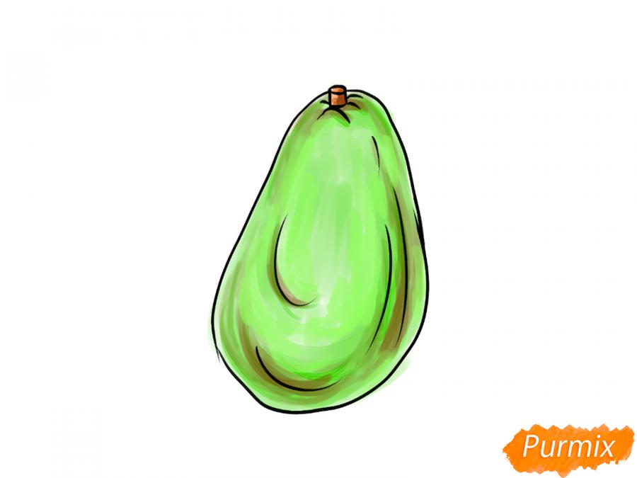 Рисуем авокадо карандашами - шаг 7