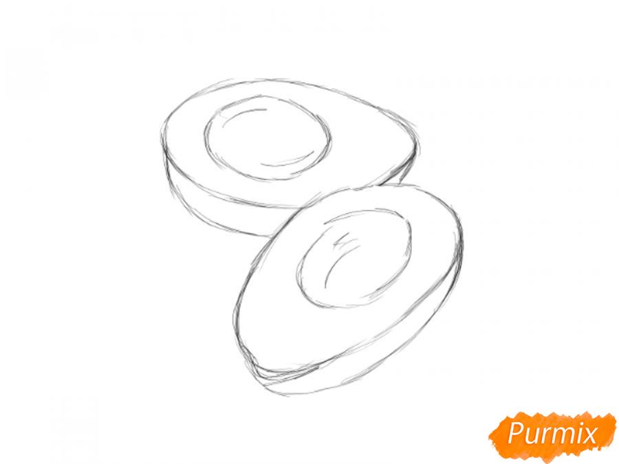 Рисуем авокадо в разрезе - шаг 3