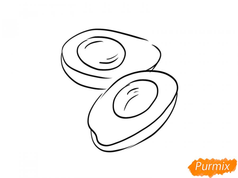 Рисуем авокадо в разрезе - шаг 4