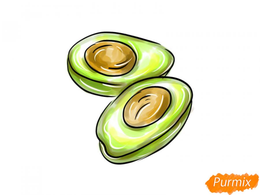 Рисуем авокадо в разрезе - шаг 8