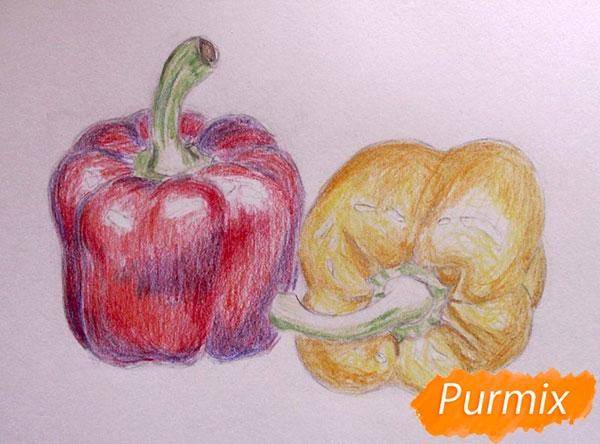 Рисуем болгарский, чили перец карандашами - шаг 7
