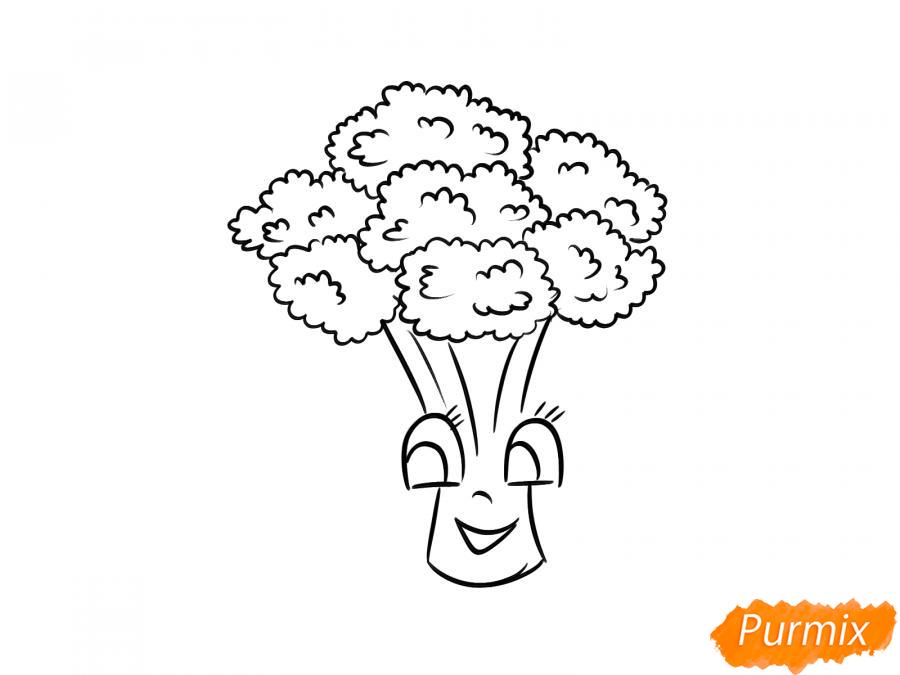 Рисуем брокколи с глазками для детей - шаг 7