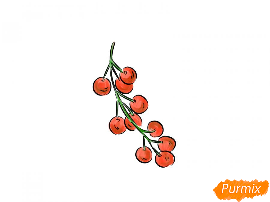 Рисуем черемуху карандашами - шаг 7