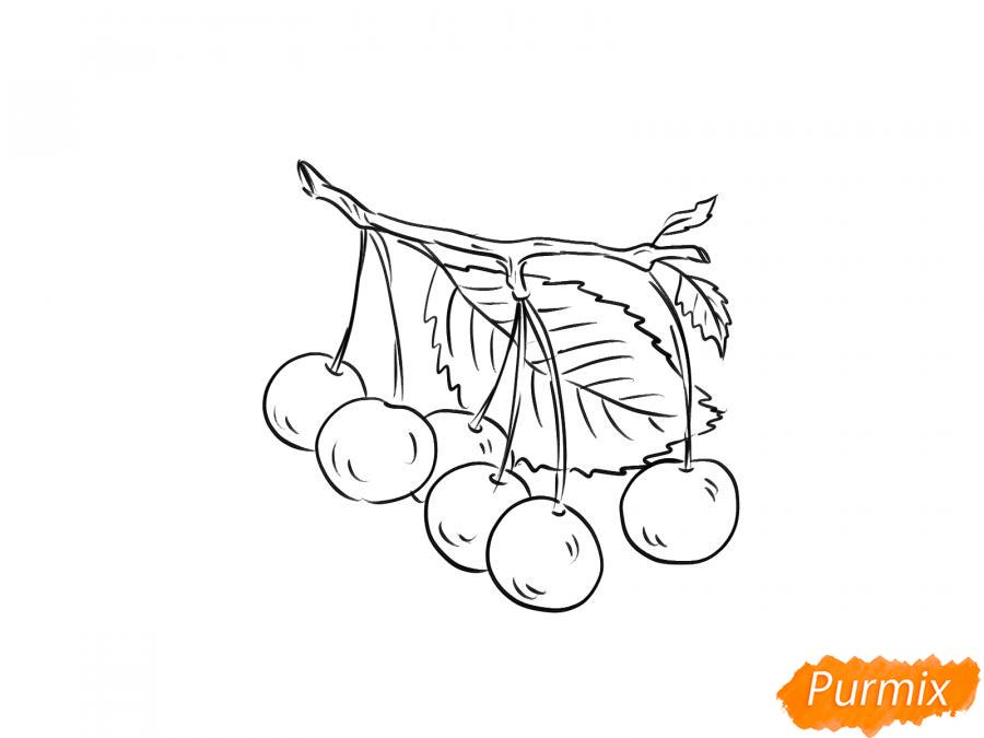 Рисуем черешню на ветке - шаг 4