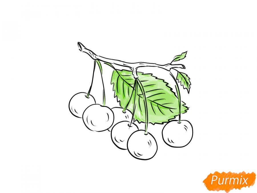 Рисуем черешню на ветке - шаг 5