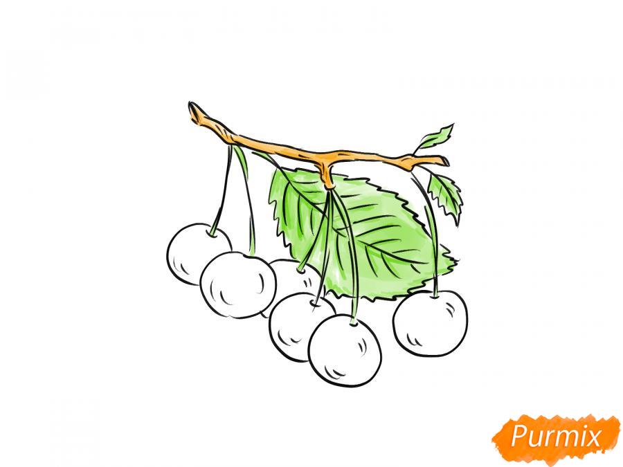 Рисуем черешню на ветке - шаг 6