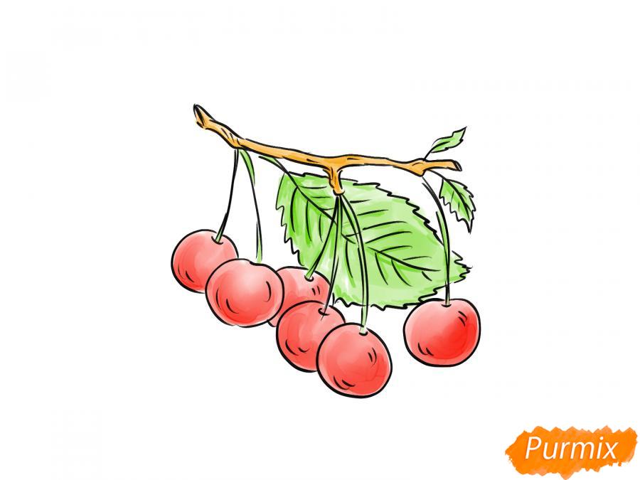 Рисуем черешню на ветке - шаг 7