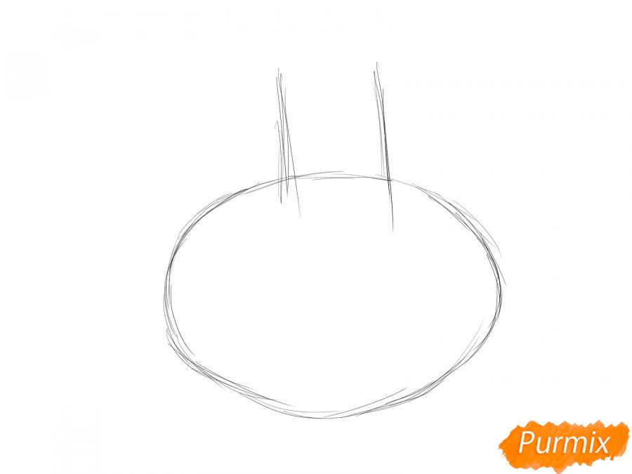 Рисуем чеснок с глазками для детей - шаг 1