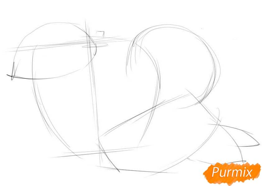 Рисуем два яблока и дольку - шаг 1