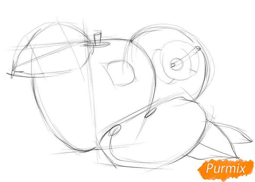 Рисуем два яблока и дольку - шаг 2