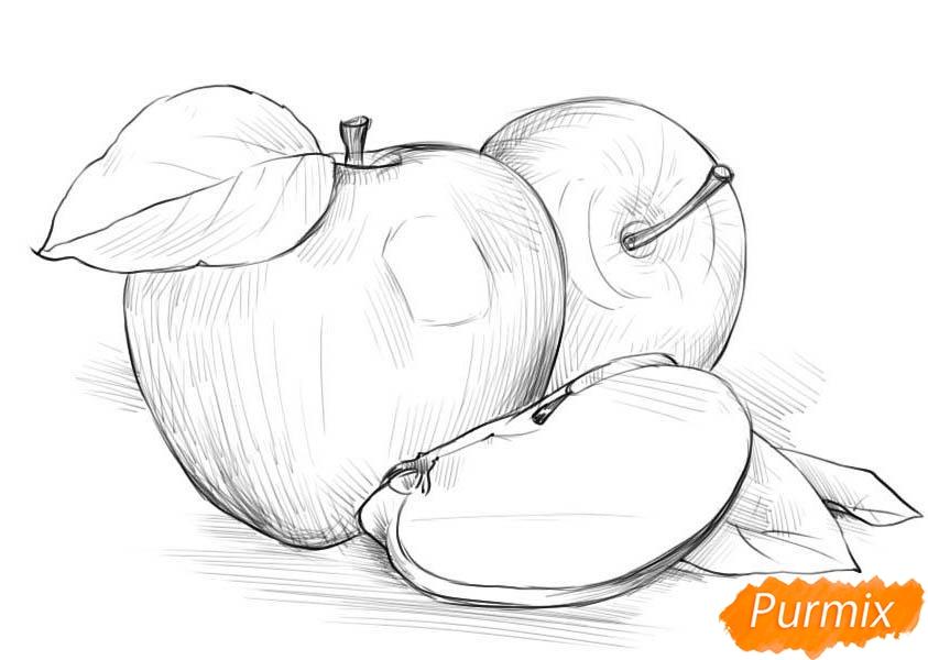 Рисуем два яблока и дольку - шаг 4