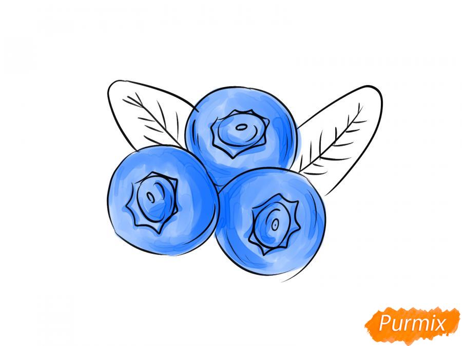 Рисуем голубику карандашами - шаг 6