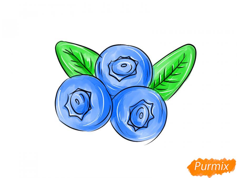 Рисуем голубику карандашами - шаг 8