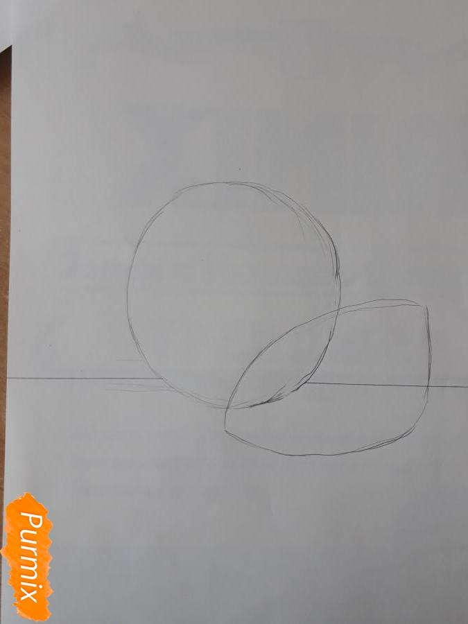 Рисуем гранат карандашами - шаг 1