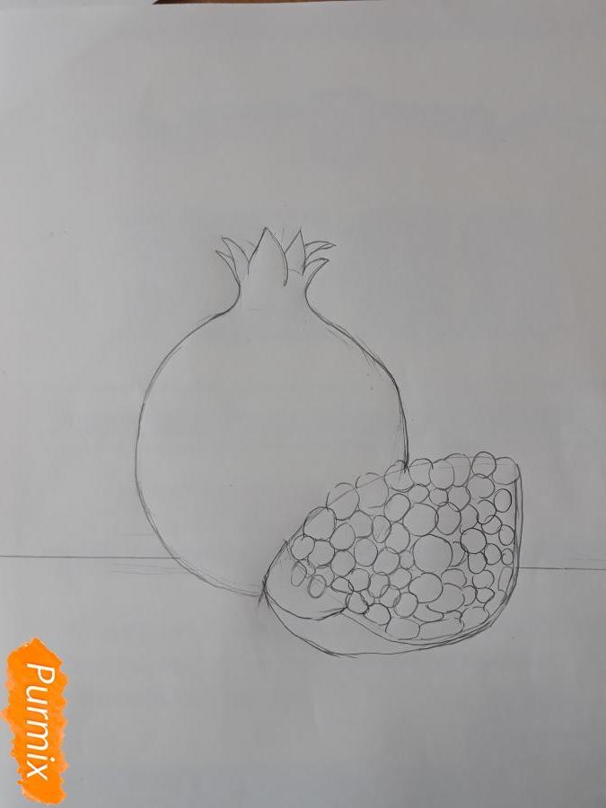 Рисуем гранат карандашами - шаг 2